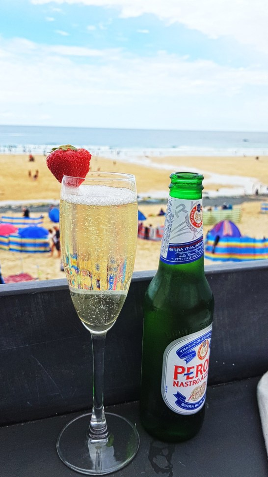 Bubbly and beer with a view at our fav beach cafe Porthmeor